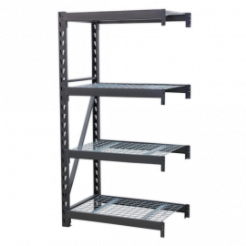 Heavy-Duty Racking Extension Pack with 4 Mesh Shelves 640kg Capacity Per Level