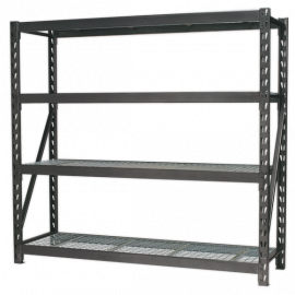Heavy-Duty Racking Unit with 4 Mesh Shelves 640kg Capacity Per Level 1956mm
