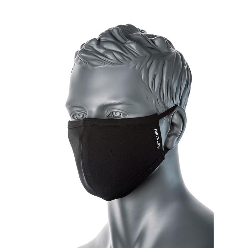Portwest - CV22 - 2-Ply Anti-Microbial Fabric Face Mask (Pk25) Black